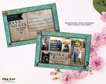 Rustic Save the Date Postcard Country Rustic Turquoise Frame Photo Save the Date Cards DIY Printable Turquoise Rustic Wedding Cards