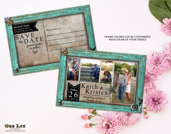 rustic save the date postcard country rustic turquoise frame photo save the date cards diy printable