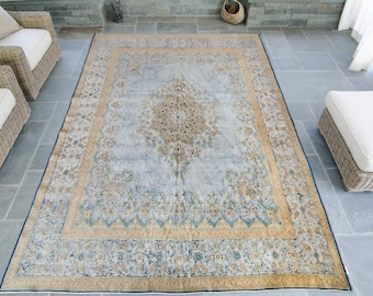 Vintage Large Hand Woven Persian Kerman Rug Wool Low Pile Distressed Rug 9' x 12'  - FREE DOMESTIC SHIPPING