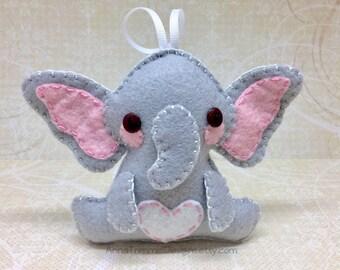 Felt elephant, elephant ornament, wildlife gift, endangered species, safari gift, safari animals, jungle animal, africa wildlife decor