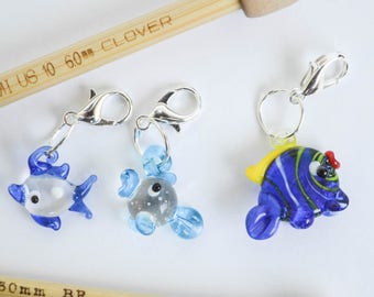 Little Blue Fish Progress Keeper Set Lampwork Glass Fish Charms Knitting Crochet Sewing Notions Zipper Pulls Gift Ideas