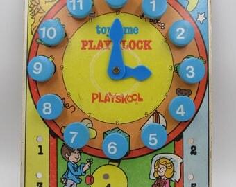 Vintage Playskool Clock Learning Game, 1970s Playskool Clock and Counting Toy, Vintage Playskool, Educational Playskool, Nursery Decor
