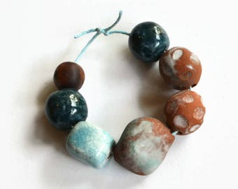 Blue and white ceramic beads, African beads, beads made in Africa, clay beads, blue beads, white beads, earthbutter beads, made in Africa