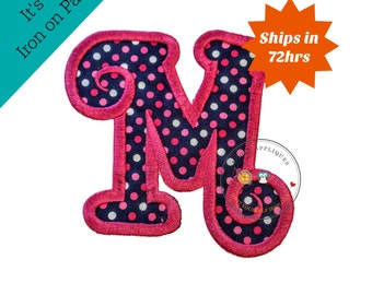 Chunky curls letter M iron on applique, Girls nautical monogram, iron on initial M, Blue and pink monogram letter M, Ready to ship