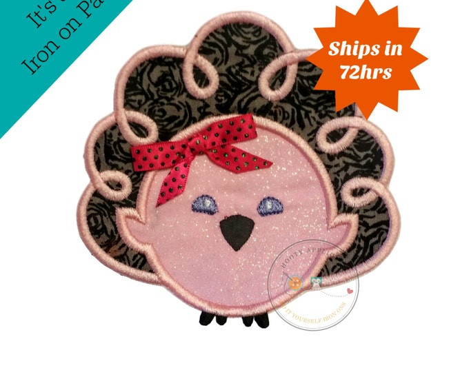 pink and gray Thanksgiving turkey iron on applique- No sew machine embroidered holiday turkey applique-DIY boutique fashions- ready to ship