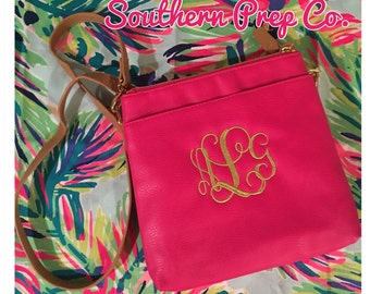 Black Friday Special Monogrammed Hot Pink Cross Body