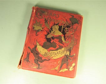Antique Grimm's Fairy Tales Book - The Dark Side Old Scrapbook Salvage Pages