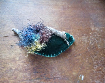 magical eggs in fairy nest, curly twig woodland barrette, clasp,
