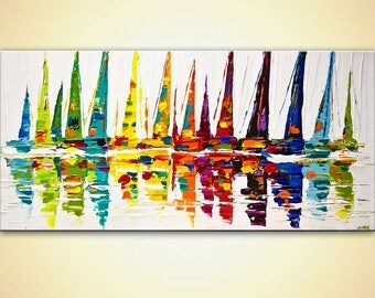 Sailboats Painting - Canvas Print - Stretched, Embellished & Ready-to-Hang  - Yellow Sailboats - Art by Osnat