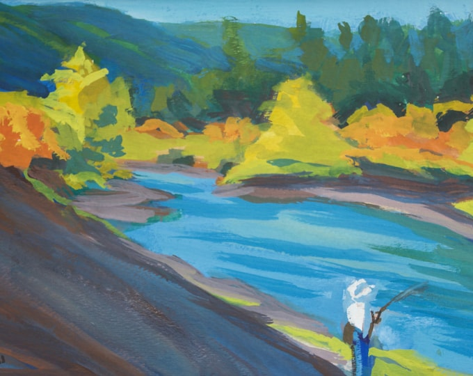 Autumn Fishing Painting Cowboy Fisherman Oakridge Oregon Gouache on Paper Matted Sherri McDowell Artist Oregon by heART