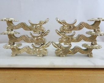Vintage Set of 6 Silver Tone Chinese Dragon Chopstick Rests | Dragon Knife Rests