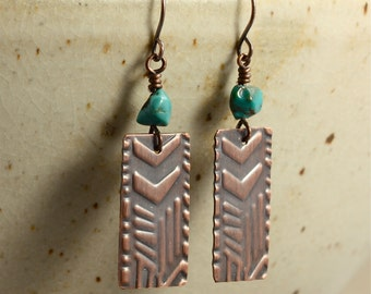 Turquoise and Embossed Copper Earrings, Turquoise Earrings, Southwestern Earrings, Rustic Earrings, Primitive Earrings, Embossed Earrings