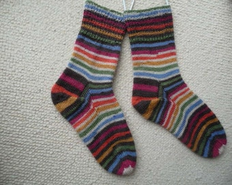 Hand knitted woman, man  socks, UK 4-6 US 6-8