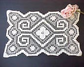 Pretty Vintage Ivory Colored Rectangular Doily