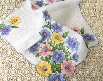 Pretty 1950's Floral Handkerchief with Flowers in Blue, Pink, Golden Yellow