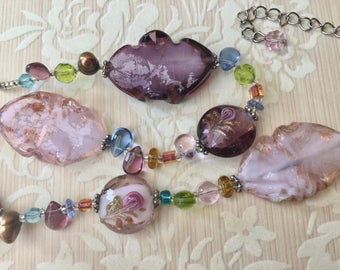 Beautiful Beads From Vintage Necklace in Purples, Pinks