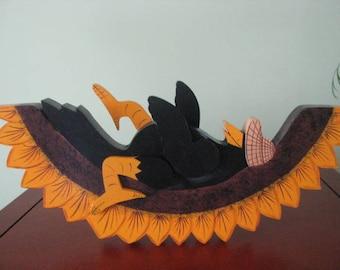 Crow,  sunflower,   shelf sitter,  crow on sunflower,   summertime, handpainted, wood, summer decor, handpainted