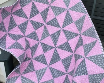 Baby Quilt - Patchwork Quilt - Crib Quilt  - Lap Quilt - Pink and Grey Quilt - Homemade Quilt - Anchor Quilt - Patchwork Quilt