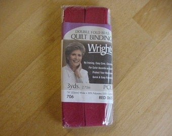 """1 Package Wright's Double Fold Bias Quilt Binding, Red, 3 Yards, Sewing, NIP, 7/8"""" Wide, Embellishments, Trims, Quilting"""