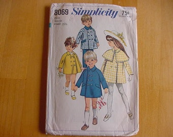 Vintage 1960's Simplicity Pattern 8069, Toddler, Childs Double Breasted Coat with Detachable Cape, Toddler Size 6X, Unisex