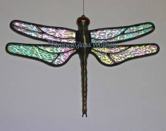 Stained Glass DRAGONFLY Suncatcher, Sparkling Crystal Ice, Clear Rainbow Iridescent Wings, USA Handmade Original, Iridescent Dragonfly