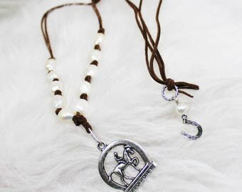 Leather & pearl dressage necklace