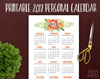 A6 Personal 2017 Calendar Planner Printable || Personal Floral Botanical Yearly Insert || watercolor calendar filofax insert || year planner