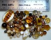 BEAD SOUP - Destash - Czech Press Glass, Art Glass, Vintage Glass, Crystals, Glass Pearls - browns - variety - beads PG895