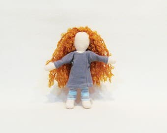 """Pocket doll with long orange hair, red headed doll, 7"""" hand made cloth doll, simple soft sculpture doll, durable doll, heirloom doll, gift"""