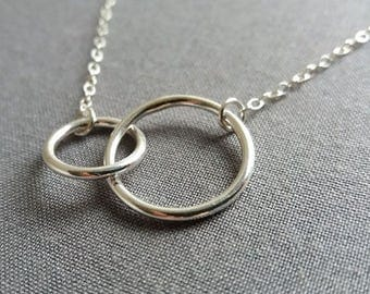 Double Circle Necklace. Eternity Necklace. Sterling Silver Necklace.  Eternity Circles. Two Ring Necklace. Trendy Celebrity Style
