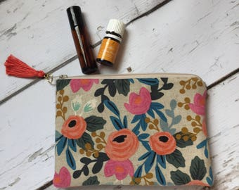 Ready to ship New Essential Oil Bag, Roller bottle or 5ml Rifle Paper Co   (holds 6-8)