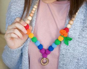 Double Rainbow ring nursing necklace -  Breastfeeding necklace  - slinging moms accessory - rainbow - baby wrap sling