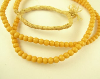 "26"" matched 5 mm amber yellow prosser pressed glass African trade beads AB-0011"