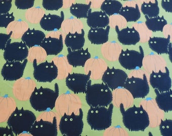 Belinda's Big Kitty - Orange - Green Halloween - Alexander Henry Fabric 1 Yard