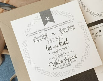 Destination Wedding Invitations, Beach Wedding Invitation, Wedding Invites, Square Wedding Invitations