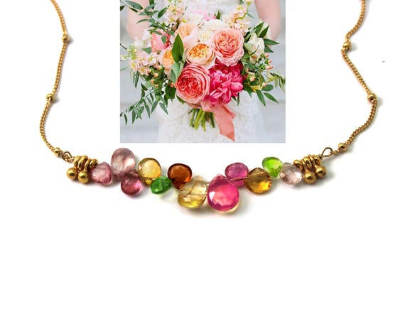 Wedding Color Matching Service. Bridesmaid Gifts. Show me your Wedding Colors. I'll Make Necklaces to Match.  NM-2189-WS