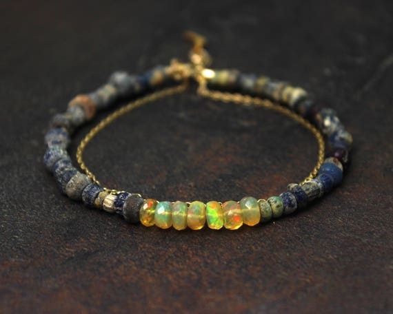 Ethiopian Opal Bracelet. Ancient Roman Beads. Double Strand Bracelet. Rustic Bracelet.  In Gold or Silver.  BB2364