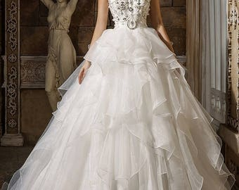 Crystal Ruffled Ball Gown Wedding Bridal Dress