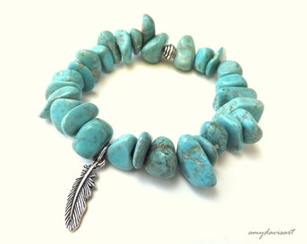 Turquoise Feather Bracelet, Beaded Stretch Bracelet, Stacking Bracelet, Feather Jewelry, Turquoise Magnesite Beads, Rustic Jewelry