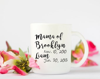 Personalized Mama Mug, Mom Coffee Mug,  Mom of Two Coffee Mug, Mothers Day Gift, Coffee Cup, Birthday Gift, Baby Shower Gift, Wife Gift