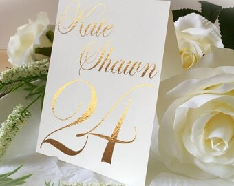 Custom Name Of Wedding Table No. Signs, Golden Print Numbers Double Sided Table Cards, Tented Table Decor