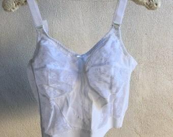 Vintage Bali longline corset white bra lace size 40 C