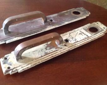 Brass Door Handles, matching, One painted, Architectural Salvage, Brass Door Pulls, Industrial