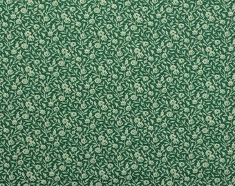 Vintage Floral Fabric, Cotton Floral Fabric, Vintage Fabric, Cotton Fabric, Green Fabric, Green Floral Sewing - 1 Yard - CFL2253