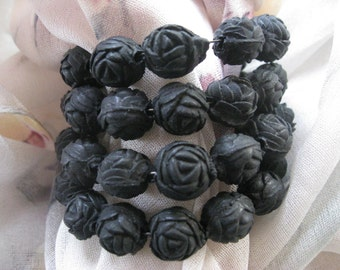 Older Vintage Bracelet - Molded Roses Jewelry - Mourning Jewelry -  1930 Bracelet - Black Bracelet - Black Rose Jewelry - Estate Jewelry