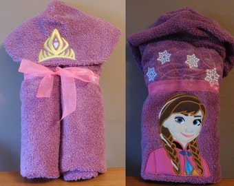 Anna Frozen Princess Hooded Towel - Free Personalization