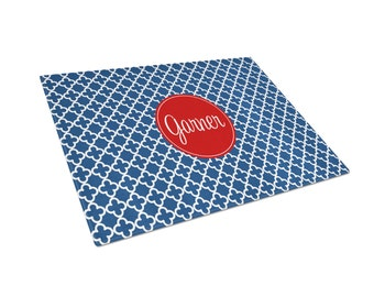 Personalized Cutting Board  - Personalized Glass Cutting Board Navy Blue and Red Clubs