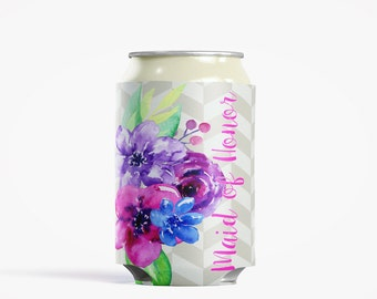 Personalized Can Insulator, DIY Custom Bottle Insulated Beverage Container, Watercolor Flowers