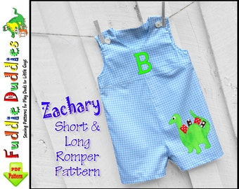 Zachary Long & Short Baby Boys Romper Pattern pdf, Jon Jon Pattern, Longall Pattern, pdf sewing pattern. Baby Boys Sewing Pattern, Baby Pant