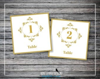 Printable Wedding Table Numbers 1-30 - Art Deco Gold Wedding Dinner Table Numbers - Roaring '20's Reception - Instant Download